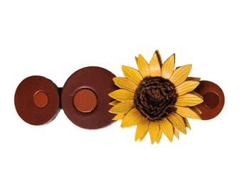 Flower Barrette sunflower in bloom with cowhide leather