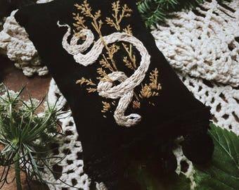 White Serpent Embroidery - Hand Embroidered - Snake - Nature - Flora - Illustration - Dark Art