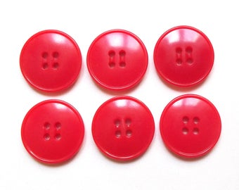 6 red round buttons 22 mm