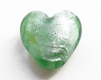 Silver 20 mm light green foil glass heart bead