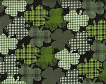 "Plaid Shamrocks on black fabric -  44"" wide, 100% cotton - St Patricks day fabric - holiday fabric - quilting fabric - By the half yard"
