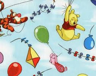 "Winnie the Pooh, Pooh Balloon Friends, by Springs Creative, 43-44"" wide, 100% cotton, by the half yard, disney fabric, cartoon fabric"