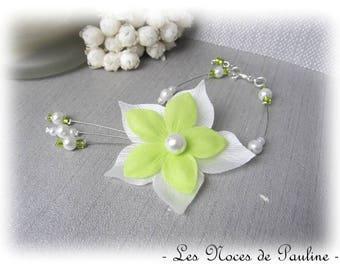 Green and white wedding flower silk Julia bracelet