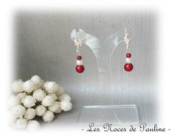 Earrings red and White Pearl with three pearls