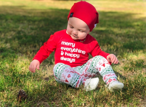 Christmas shirt, Merry Everything and Happy Always, Holiday Shirt for Kids, Children's Christmas Long Sleeve Shirt