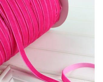 beautiful ribbon velvet fuchsia 10 mm wide, 1 meter