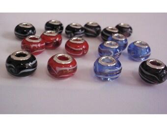the 16 murano glass beads, wavy, 14 mm x 10 mm
