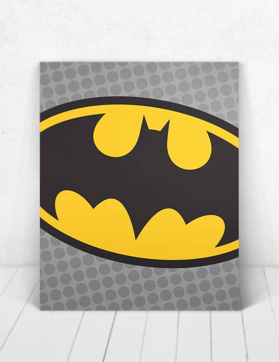 Superhero Batman Pop Art Wall Art / Batman Logo Pop Art / Batman Logo / Batman