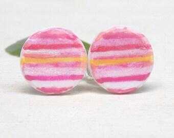 Pink stripe earrings, pink earrings, polymer clay earrings, stud earrings, hand painted earrings, girls' earrings, summer earrings, gift