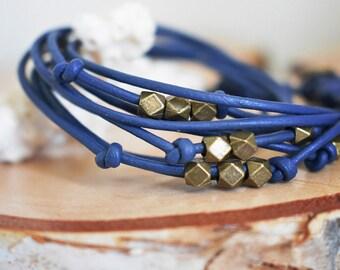 Boho leather bracelet, Blue wrap bracelet for women, 3 wraps, blue & antique brass bracelet, Boho leather jewelry for girl, Women gift idea
