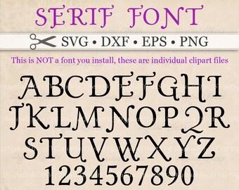 SERIF Monogram Svg Font, Dxf, Eps, Png, Svg, 36 Files, Fancy Monogram; Capital Letters, Swash Font, Silhouette, Cricut, Wedding Monogram Svg