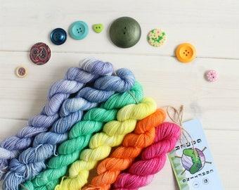 Tiny Rainbows - neon rainbow gradient set - sparkle sock yarn - mini skeins