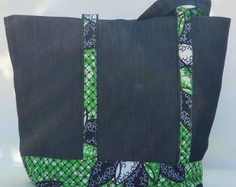 Denim tote bag and printed