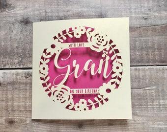 Personalised Gran Floral Birthday Card, Happy Birthday Nan, Special Grandma, 60th, 70th, 80th, Granny, Nana, Handmade Card, Papercut