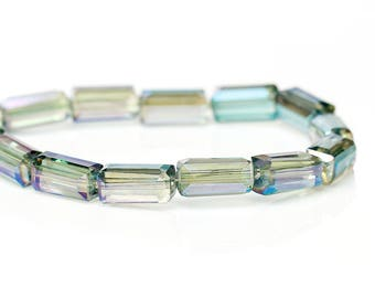 """20 beads in faceted Rectangle shape""""glass 8 mm Green/purple"""
