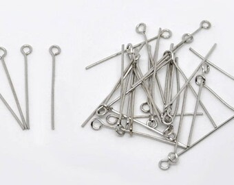 Set of 200 3cm silver eye pins