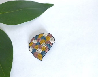 Foliage brooch / jewelry embroidered / motif hand embroidered leaves / silver blue pink yellow brooch / colourful brooch
