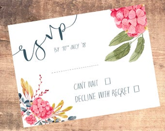 Floral rsvp's in hand written calligraphy