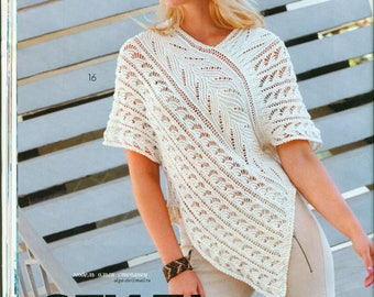 Knitted tunic, white tunic, cotton tunic, tunic, knitted blouse, summer tunic, custom made, order tunic, blouse