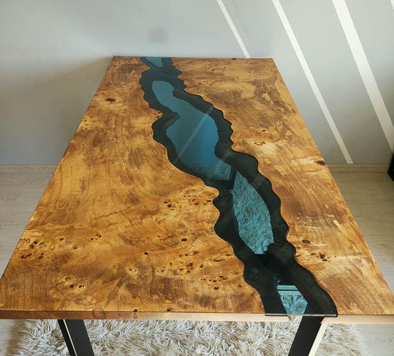 Sold live edge river table with epoxy resin sold for Resina epoxi madera