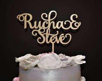 Personalized Wedding Cake topper / Custom Name Wedding Cake Topper / Wood Wedding Cake topper / Personalized Name Cake Topper / Wedding Name