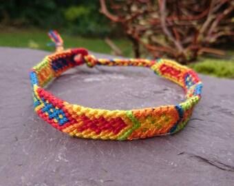 Bright Multicolour Arrow Anklet/Armband, Macrame Anklet, Macrame Armband, Woven Anklet, Woven Armband, Tribal Anklet, Tribal Armband, Arrow