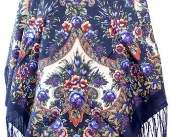 Russian Shawl with fringes - Floral Pattern Classical Design Fashion Scarf - Square Shape - Dark Blue Color (F)