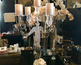 Acrylic Candelabra - Candle Holder - Candelstick - Acrylic Candlestick - Wedding Decor - Wedding Candle Holder