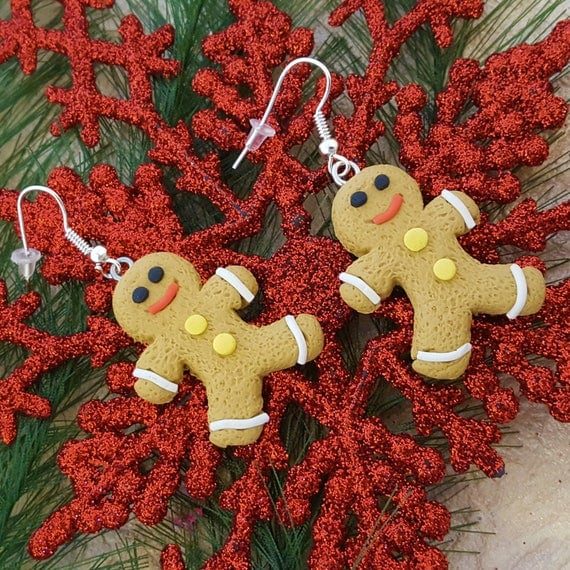 Gingerbread Man Earrings, Christmas Jewelry, Holiday Earrings, Gift for Wife, Gingerbread Man Cookie Charms, Clay Food Charms, Fun Food Gift