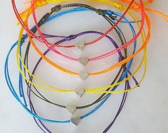 Friendship bracelet, Paracord bracelet, heart bracelet, heart bead bracelet, star bracelet, wish bracelet, sliding knot bracelet