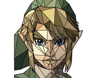 Link Legend of Zelda Geometrical Art Piece