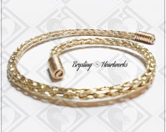 Flexible Bronze Viking Knit Torque with Spring-Coil Finials ~ Norse/Celtic