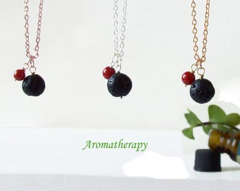 Black Lava Diffuser Necklace With Red Coral, Sterling Silver Chain, Essential Oil Perfume Diffuser Pendant, Valentine Day Gift, Aromatherapy