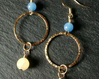 Aragonite  and Blue Chalcedony Drop Earrings