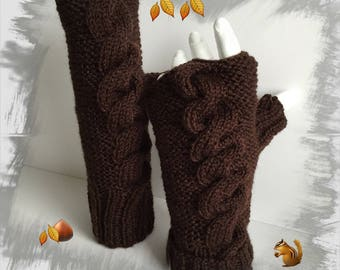 Fingerless gloves women/adults/teens, wool soft warm and comfortable, dark brown color
