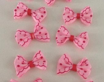 10 bow tie applique 40x25mm pink Fuchsia grosgrain Ribbon
