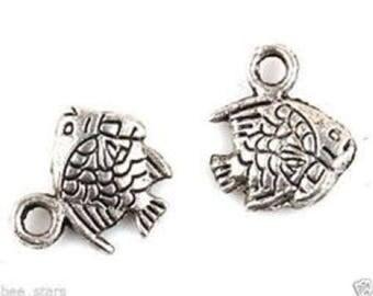 set of 10 silver fish charm 10 x 10 mm