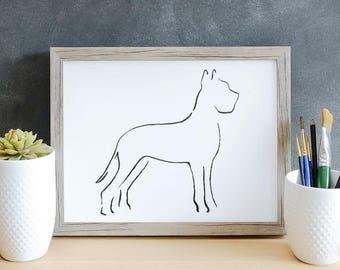 Great Dane, Minimalist Dog Art Print, Pet Loss Gift Ideas, New Dog Owner Gift, Dog Mom Gift, Dog Owner Decor, New Puppy Gift, Best Dog Gifts