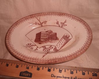 T.R.Boote Transferwarel Meal Platter Plate Summer Time Pattern   WOODS HOTEL RIPON Wisconsin