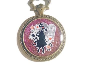 ALice in wonderland necklace red black card
