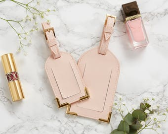 Saffiano Leather Luggage Tag Set Monogram Blush