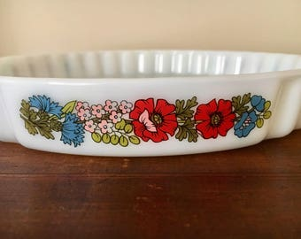 Vintage pyrex large bowl pie dish retro floral england