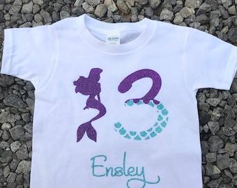 Mermaid Birthday Shirt, Girls Birthday Shirt, Little Mermaid, Ariel Birthday Shirt