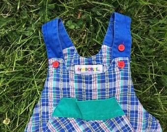 Vintage 80's plaid baby jumper size 12-24 months