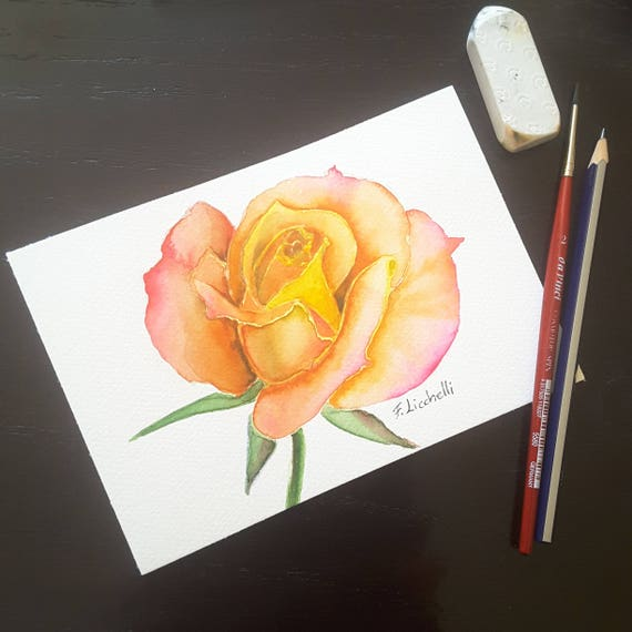 Rose, original painting, mini picture, gift idea for her birthday, romantic little image to hang on bedroom or living room wall, watercolor.
