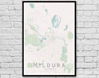 Mildura VIC City Street Map Print | Wall Art Poster | Wall decor | A3 A2
