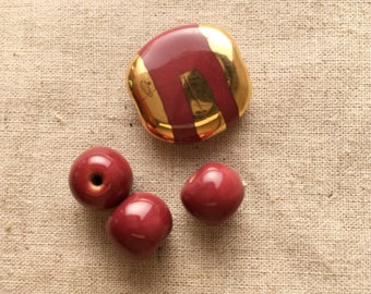 Kazuri Beads, Burgandy & gold, Handmade ceramic beads for jewellery making, Fair Trade, Handmade in Kenya