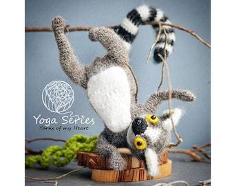 Crochet lemur pattern, Amigurumi lemur pattern, lemur crochet pattern, crochet lemur on wire