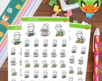 Cooking Foxes - Fox Chef Baking Cook Meal Prep Food - Planner Stickers