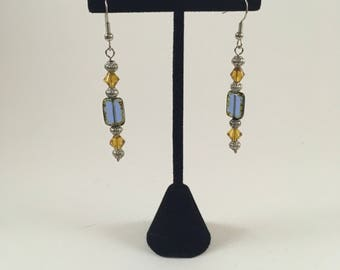 Blue and Amber Drop Earrings